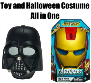 Toy helmets and masks as costumes